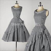 Cheap Wholesale-2015 summer women 50s vintage rockabilly pin up plaid print peter pan collar bow midi swing cotton dress big plus size vestidos