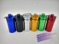 p004 drugs - 15pcs Silver Waterproof Aluminum Medicine Pill Box Case Bottle Cache Drug Holder Keychain Container mm
