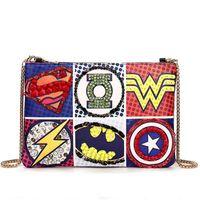 Wholesale 2016 Women Handbags Fashion Superman Batman Diamonds Messenger Bags Chain Envelope Clutch Tote Crossbody Shoulder Lady Satchels B6210