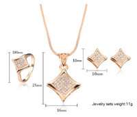 Wholesale Necklace Earring Ring set with little diamond pendant fashion style for dinner party wedding