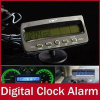 Wholesale Car Electronic Clock temperature thermometer voltage Digital Clock Alarm Vehicles Auto Timer LCD Backlight display Alarm