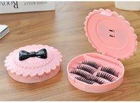 Wholesale Limited edition pink bow style false eyelashes storage box