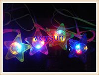 Wholesale DHL Freeshipping LED Glowing Little Star Necklace Flashing Hanging Light up Kids Toys Birthday Party Favors