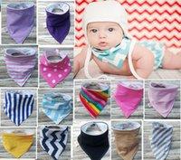 Wholesale Baby Bandana Bib Set of Drool Bib Blue Navy Hickory Stripes Purple Denim Solid Scarf Bib Baby Bib Boy Girl Super Soft Cotton