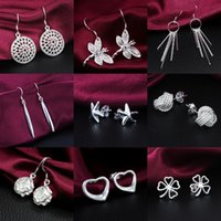 Wholesale Mixed Styles pairs silver earrings Multi Style amazing stud charms Lady women s earrings jewelry Earring Factory Price Free DHL