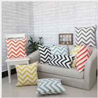 Wholesale High grade WATER WAVE Cotton Square CUSHION COVER Striped PILLOW COVER Cushion Home Decoration CM CM