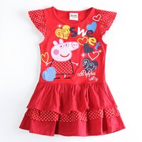 Wholesale H5415 nova kids clothing peppa pig baby dress cupcake dresses for little girls dresses girls red dresses princess summer dress