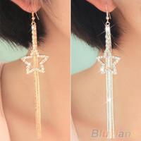 Wholesale Women s Rhinestone Pentacle Star Drop Long Tassels Chain Hook Dangle Linear Earrings SAD