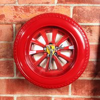 alarm clock purpose - Famous car classic red tyre creative hanger clock alarm clock desk clock three purpose home decoration