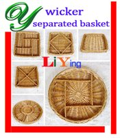 willow basket - Wicker storage baskets willow picnic basket zakka wire rustic basket basket decoration round square separated easter basket snack tray plate