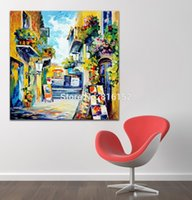 attractive landscapes - Attractive Palette Knife Oil painting Western Architecture Landscape Canvas Printing Mural Art Picture for Living Room Office Wall Decor