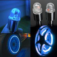 Wholesale 1 Pair Cycling Bike Bicycle Neon LED Wheel Spoke Valve Cap Alarm Wheel Lights LED External Lights