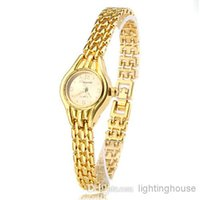 Cheap Hot Wholesale High Quality Fashion Casual Quartz Gold Dial Metal Gold Band Wemon's Wrist Watches on Sales