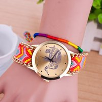 Wholesale 13 Colors Elephant Design Fashion Braided Rope Bracelet Geneva Watches Hand Made Friendship Watch Women Quartz Watches WI20