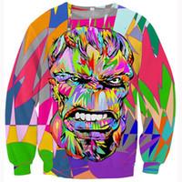 Wholesale w1223 Women men fashion pop art design crewneck hoodies tops colorful hulk d sweatshirt outerwear hip hop hoodie pullovers tracksuits