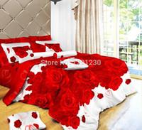 achat en gros de 3d bed set-Gros-luxe 3D marque Literie Set de couette en lin Peinture à l'huile de lit ou Taille couette Linge de lit / Queen / King coton grande rose