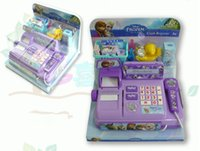 Wholesale Voice Glowing Frozen Multi function Cash Register Elsa Anna Pretend Play Furniture Educational Toys Christmas Gifts