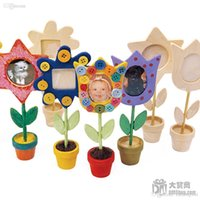 Cheap Wholesale-Free Shipping 12pcs lot DIY Unfinished Wood Flower Photo Holders,Home Decoration Picture Frame For Kids