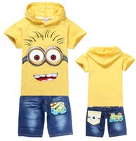 printing set - Being Hot Boys Girls Minion Rush Clothing Sets Jerry Printed Short Sleeve T shirt With Hood Tim Mark Stuart Jeans Pants Child Outfits E1307