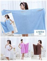 Wholesale New style Women Lady SPA Shower Towel Body Wrap Bath Robe Bathrobe Magic Spa Beach Dress Swimwear wash clothes g
