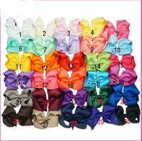 achat en gros de filles boutique hairbows-Bandeaux de bébé 6 pouces Big Grosin ruban Hairbows, accessoires pour les cheveux des filles de bébé avec Clip, boucles de cheveux Boutique Hairpins-20pcs-Free Shipping