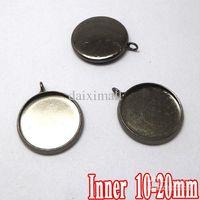 Earring Back bezel pendant blanks wholesale - 100pcs Gunmetal Black Plated Pendant Blanks with inner mm Bezel Setting Tray for Cameo Cabochons