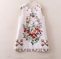 sundresses - 2015 Summer Girls Vest Tank Dress Sleeveless Flower Embroidery Fashion Sundress Girl Girl s Dressy Elegant Party Dresses Clothes J3476