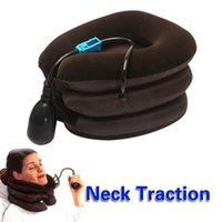 Wholesale Cervical Air Neck Traction - In Stock Air Cervical Neck Traction Massager Soft Brace Device Unit for Headache Head Back Shoulder Neck Pain Relaxation 2015