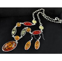 Wholesale Fashion Amber Oval Pendant Necklace earrings jewerly set women Wedding jewelry sets dangle earrings pendant jewelry Sets S0005