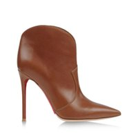 Cheap New Difeina Fashion Women Shoes Toe Pointed Sample Short Boots Ankle Boots High Heels Brown Cowhide leather Sexy Deep Stiletto Heel 12 cm