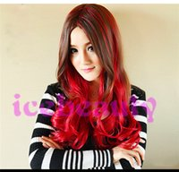 Wholesale Long curly Synthetic Hair wigs cosplay party wigs black and green Gradient color nature wave hair wigs lady women s hair wig