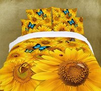 3d bedding set - Luxury Oil Painting Cotton D King Size Flower Sunflower Bedding Bed Set Duvet Covers