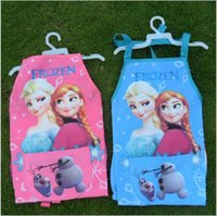 Wholesale 2015 hot color frozen elsa anna bib Aprons with hand cuff oversleeves kid waterproof apron mum cartoon cooking smock TOPB3099 set