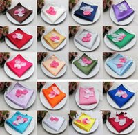 Wholesale 22 cm Satin Solid Square Handkerchief Hanky Napkin Banquet Wedding Party
