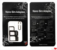 Wholesale DHL Nano SIM Card to Micro SIM Card Standard Adapter Converter Eject Pin Set in For iPhone S Galaxy S4 S5 MQ300