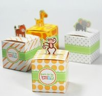 Wholesale 100pcs Zoo Baby Shower Candy Box Party Favor Bakery Gift Cup Cake Cookie Box