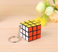 rubik's cube - 2016 x3x3cm Mini Rubik s cube Keychain Size Puzzle Magic Game Toy Keychain Creative rubik s cube pendant Toy for Children