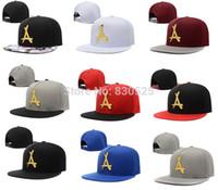 "Cheap Wholesale-New 2015 fashion Tha Alumni Snapback gold ""A"" strapback letter baseball caps bboy hip-hop hats for men and women"