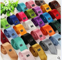 Wholesale 40 Colors New Fashion Mens Skinny Solid Color Plain Satin Tie Necktie Wedding Neck Ties