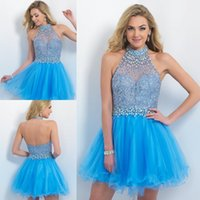 Wholesale 2015 Sexy Short Graduation Dresses with Beads Tulle Blush Celebrity Dresses