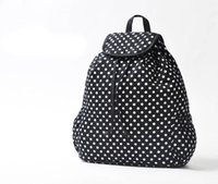 beautiful backpacks - H1219 Cozy Casual cotton Beautiful Girls Dots Print Backpack School Bag large size