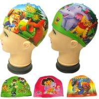 Wholesale 120pcs frozen Children swimming cap print car cartoon caps for swimming Caps Hats Spiderman Children Swimming Hats Kids Swimming BFH972