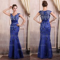 Wholesale Sexy Royal Blue Prom Dresses V neck Satin Beaded Floor Length Mermaid Mother of Bride Dresses Evening Dresses Dhyz