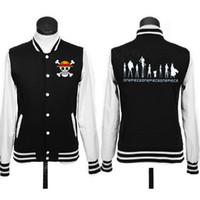 baseball uniform logos - New Japanese Anime one piece skull logo coat JACKETS baseball uniform hoodie black red grey colors