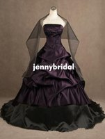 victorian ball gown wedding dresses - 2015 wedding gowns ball Purple and black Wedding Dresses Strapless lace up Embroidery Gothic victorian dress Ruffles puffy bridal free wrap