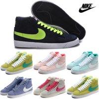 Wholesale Nike Men Women Blazer Mid Print Casual Shoes Original High Cut Skate Shoes Discount Classic Campus Lovers Fur Sneakers Authentic Boots