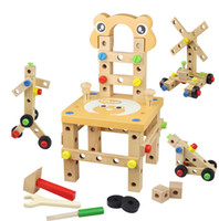 Wholesale Fashion wooden toy Colorful Kid pretend play workbench tool box carpenter play educational DIY Assembling toys Disassembly emulational chair