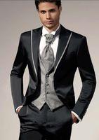 Wholesale High quality Two Buttons Black Groom Tuxedos Peak Lapel Wedding Men s Suit Bridegroom Suits Jacket Pants Tie Vest