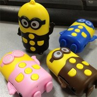 Wholesale Mini SD TF Card Speaker Portable Minions Despicable Me MP3 MP4 player Cartoon Speaker music player Earphone usb cable cord