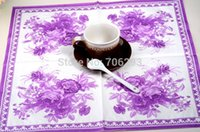 Wholesale 330MMX330MM colored facial tissue paper napkin paper printing handkerchiefs for wedding birthday favors gift with purple flower